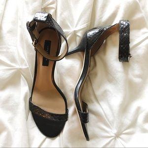 "Ann Taylor ""Mara"" black snakeskin heeled sandals"